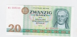 Billet  DDR De 20 Mark  De 1975  Pick 29 Neuf - [ 7] 1949-… : FRG - Fed. Rep. Of Germany