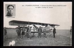 Etampes Aviation, L'aviateur Chef-pilote Maurice Chevillard Sur Biplan à Fuselage H. Farman - Aviateurs