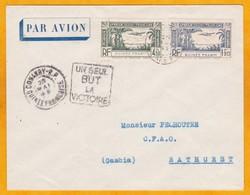 1943  - Enveloppe Par Avion De Conakry, Guinée Française Vers Bathurst, Gambie - France Libre - Daguin Patriotique - Französisch-Guinea (1892-1944)