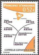 Andorra Español 2004 Yvert 306 Neuf ** Cote (2015) 2.00 Euro Code Postal - Andorre Espagnol