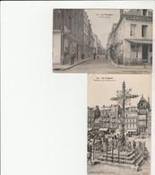 2 CPA: LE TRÉPORT (76) CAFÉ RUE THIERS,CALVAIRE DE LA POISSONNERIE - Le Treport