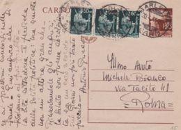 1946 Cartolina Postale Democratica Con Stemma Lire 1,20 Con Fr.lli Aggiunti Democratica  Striscia Tre C.60 Barletta (19. - 5. 1944-46 Luogotenenza & Umberto II