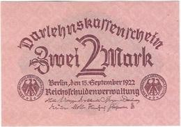 Alemania - Germany 2 Mark 15-9-1922 Pk 62 UNC - [ 3] 1918-1933 : República De Weimar