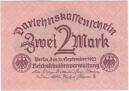 Alemania - Germany 2 Mark 15-9-1922 Pk 62 UNC Ref 3458-1 - 2 Mark
