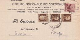 1946 DEMOCRATICA C.10 E IMPERIALE Senza Fasci Tre C.30 (516+543) Su Piego Firenze (5.6) - 5. 1944-46 Luogotenenza & Umberto II