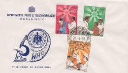1968 SOMALIA IND. 20  Ann. WHO Serie Cpl. FDC - Somalia (1960-...)