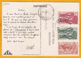 1950  - Carte Postale De Yaounde, Cameroun Vers Merdrignac, Côtes Du Nord - Dear Doctor - IONYL - Femme Peulh - Cameroun (1915-1959)