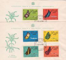 1961 SOMALIA INDIP. Farfalle (PA 8/14) Due FDC - Somalia (1960-...)