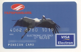 Credit Card Fauna Bird Stork Bankcard Ukrprombank Ukrainian Industrial Bank UKRAINE VISA Expired 2005 - Tarjetas De Crédito (caducidad Min 10 Años)