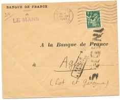 INADMIS ENV 1940 LE MANS SARTHE 1940 AFFRANCHIE IRIS 1F => LOT ET GARONNE - Marcophilie (Lettres)