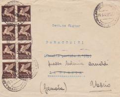 1946 POSTA AEREA Blocco Otto C.50 (11) Su Busta Villafranca L. (29.5 Re Maggio) - 5. 1944-46 Luogotenenza & Umberto II
