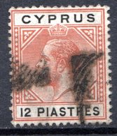 Ile De CHYPRE - (Colonie Britannique) - 1912 - N° 64 - 12 Pi. Brun-orange Et Noir - (George V) - Cyprus (...-1960)