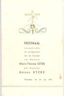Menu - Feestmaal Huwelijk Marie Thérèse Ester X Antoon Ryckx - Wilskerke - 1956 - Menus