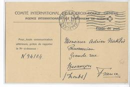 PRISONNIERS DE GUERRE - 1915 - CROIX-ROUGE - CARTE D'INFORMATION Sur SOLDAT DISPARU GENEVE => BESANCON (DOUBS) - Guerre De 1914-18