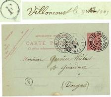 VOSGES ENTIER 10C SEMEUSE LIGNEE CP 1905 THAON LES VOSGES BOITE RURALE F = VILLONCOURT - Marcophilie (Lettres)