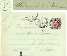 VOSGES CP ENTIER 10C SEMEUSE LIGNEE 1905 THAON LES VOSGES + BOITE RURALE F = VILLONCOURT - Marcophilie (Lettres)