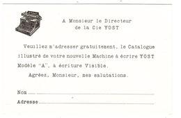 """CARTE PUB - MACHINE À ECRIRE """"YOST"""" - Carte Réponse, Demande De Catalogue - Publicité"""