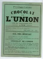 PROTEGE CAHIER CHOCOLAT DE L'UNION LYON TBE - Protège-cahiers