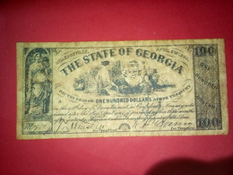 CONFEDERATE THE STATE OF GEORGIA ONE HUNDRED DOLLARS 100 DOLLARS USA 1864 Reproduction - Confederate Currency (1861-1864)