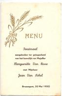 Menu - Feestmaal Huwelijk Margueritte Van Hove X Jean Van Schel - Brussegem 1950 - Menus