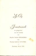 Menu - Feestmaal Huwelijk Yolande Verkinderen X Godfried Vuylsteke - Marialoop 1959 - Menus
