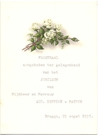 Menu - Feestmaal Huwelijk Jubileum Ach. Hennion X Matton - Brugge 1957 - Menus