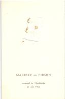 Menu - Feestmaal Huwelijk Marieke X Firmin - Meulebeke 1962 - Menus