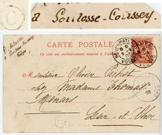 VOSGES CP 1903 NEUFCHATEAU T84 BOITE RURALE C = SOULOSSE COUSSEY ( SOULOSSE SOUS ST ELOPHE ) - Marcophilie (Lettres)