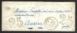 Aube-Lettre (Avec Sa Correspondance De Bercenay En Othe) Avec Cachet Type 14 De Estissac-Pour Auxerre - 1849-1876: Période Classique