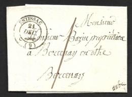Aube-Lettre Avec Cachet Type 14 De Estissac-Pour Bercenay En Othe - Marcophilie (Lettres)