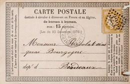 Yvert 55 Cérès  Entier Carte Précurseur ROYAN Charente Inférieure 30/9/1875 GC 3233 à Bordeaux Gironde - Postal Stamped Stationery