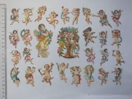 CHROMO DECOUPIS Tous Format: ANGE Lot 29 Différents Même Thème - Anges Angelot Cupidon Musicien Religieux Fleur - Angels