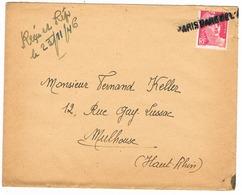 Cachet Provisoire Gare De L'est 1946 Depart Clermont Ferrand Pour Mulhouse - Stamps