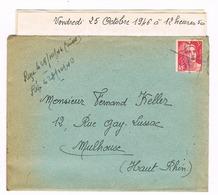 ANNULATION MANUSCRITE  OCT 1946 DE CLERMONT FERRAND POUR MULHOUSE - Stamps