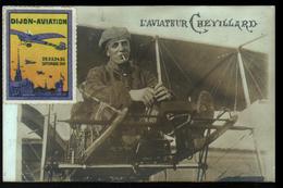 L'aviateur  Chevillard , Carte Photo, Vignette Dijon Aviation - Aviateurs