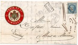 France N° 29 Gare De Limoges Type 15 Et GC 2049 Du 01/08/1868 Ind 12 - Postmark Collection (Covers)