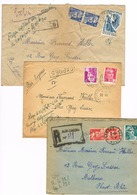 2 COURRIER EXPRESS 1 RECOMMANDE 1946 1947 AUBUSSON POUR MULHOUSE - Timbres