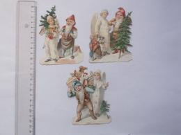 CHROMO DECOUPIS: ANGE Longues Ailes LUTIN Lot 3 Différents Même Série - Anges Sapin De Noël Jouet Neige Hiver Religieux - Anges