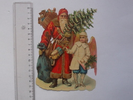 CHROMO DECOUPIS Grand Format: ANGE (Longues Ailes) Et PERE NOEL - Anges Sapin De Noël Jouet Cloche Neige Hiver Religieux - Angels