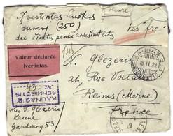 Lituanie, Valeur Déclarée Pour La France En 1929 Avec Bel Affranchissement Au Dos Avec Cachets De Cires - Litauen