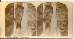 PHOTO STEREOTYPE SUR SUPPORT CARTON / GROTTES DE BETHARRAM - STALACTITES VIVANTES - Anciennes (Av. 1900)