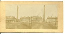 PHOTO STEREOTYPE SUR SUPPORT CARTON / PARIS - PLACE VENDOME - Anciennes (Av. 1900)