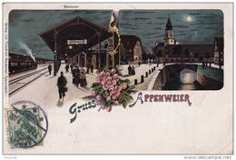 EB32- GRUSS AUS APPENWEIER  - BAHNHOF -- GARE TRAIN -   (OBLITERATION DE 1907 - 2 SCANS) - France