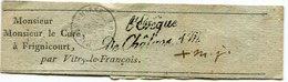 """Bande De Journal En Franchise (griffe"""" L'Evèque De Chalons Sur Marne"""") Et Type 15 Du 3/11/1849 Pour Vitry Le François - Marcophilie (Lettres)"""
