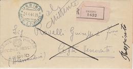 Urbino. 1944. Annullo Guller URBINO (*ARRIVI E PARTENZE* Su Raccomandata RESPINTA AL MITTENTE, Con Testo - Storia Postale