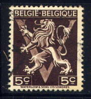 BELGIQUE - 674A° -LION HERALDIQUE SUR LE V DE LA VICTOIRE - Gebruikt