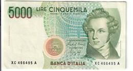 5000 LIRE BELLINI SERIE SOSTITUTIVA XC 1992  Raro NON TRATTATO LOTTO 2565 - [ 2] 1946-… : Repubblica