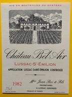 10614 - Château Bel-Air 1982 Lussac Saint Emilion - Bordeaux