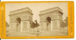 PHOTO STEREOTYPE SUR SUPPORT CARTON / PARIS - L'ARC DE TRIOMPHE - Anciennes (Av. 1900)