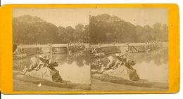 PHOTO STEREOTYPE SUR SUPPORT CARTON / VERSAILLES - BASSIN DE NEPTUNE - Anciennes (Av. 1900)